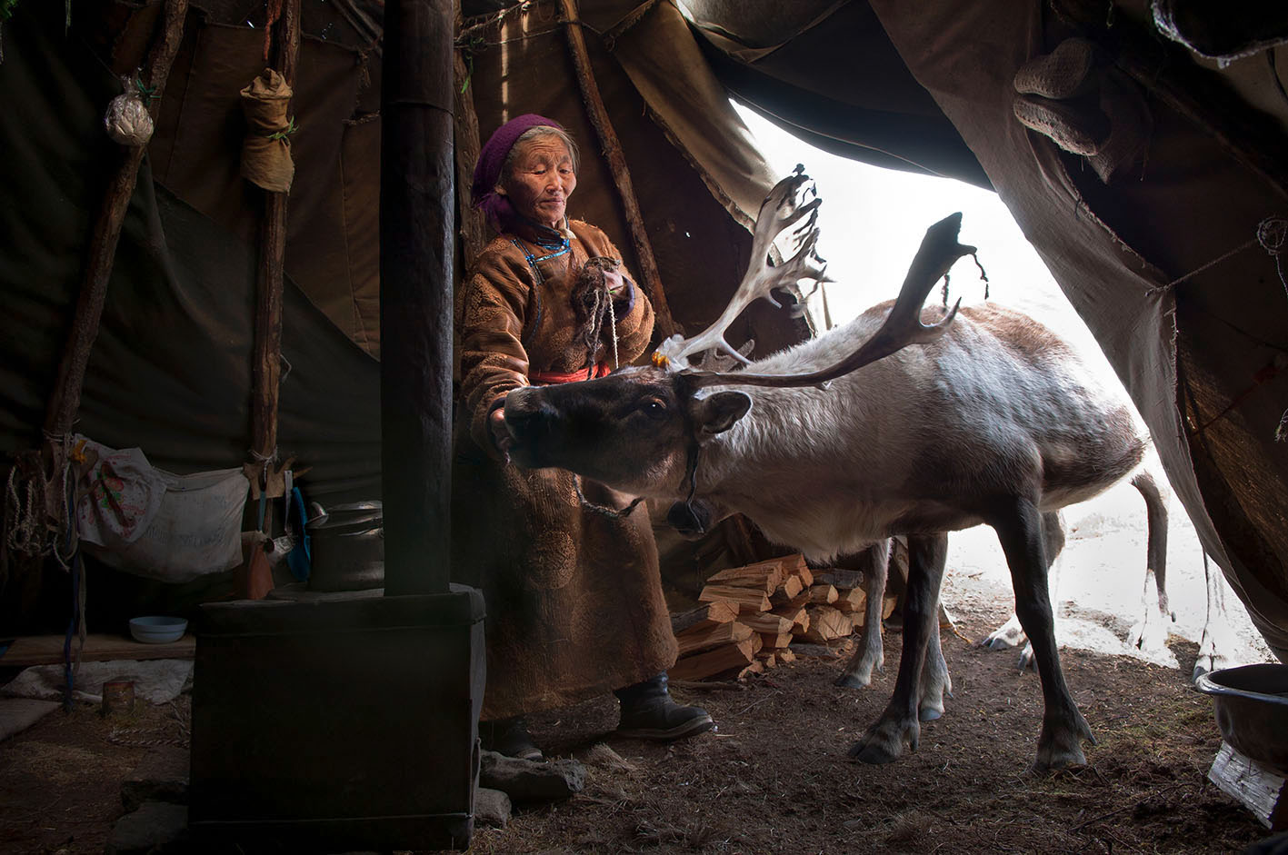 36_sardar_h_woman-feeding-salt-to-deer_west-taiga_hovsgol-province_mongolia_2006-klein