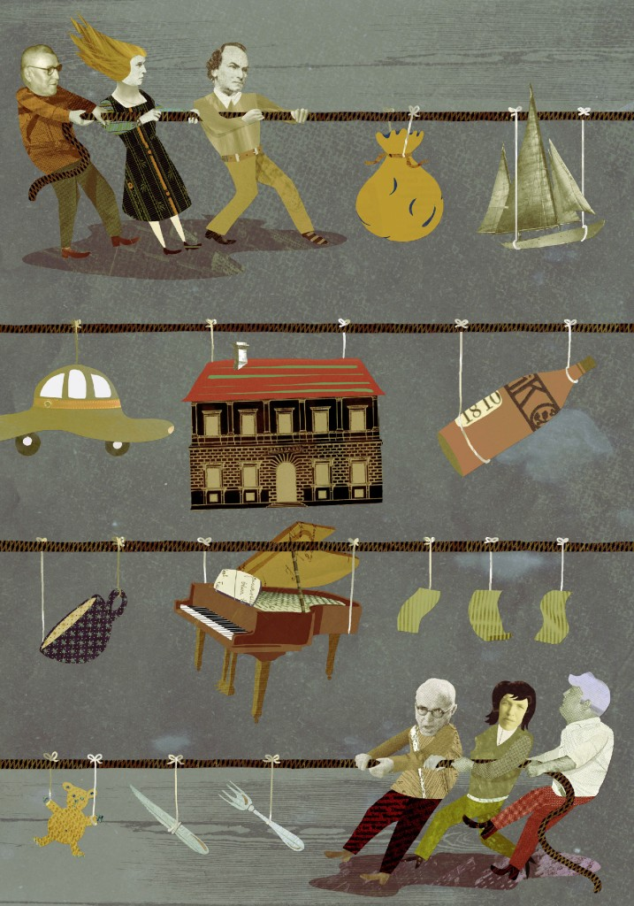 Illustration Erben Vererben Familie und Streit