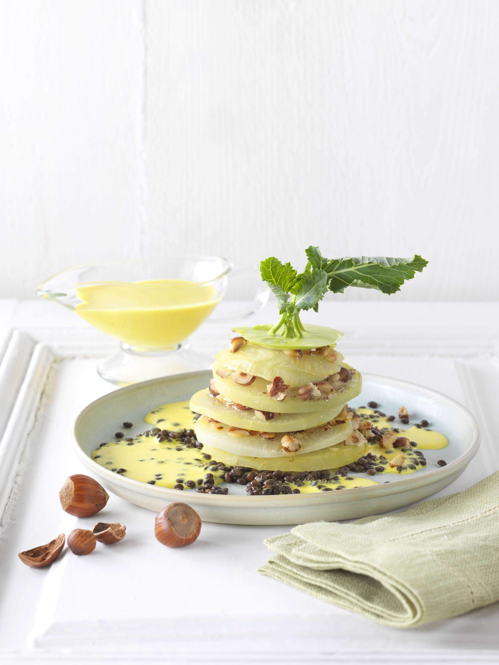 Sommerküche: Kohlrabi mit Zitronenrahm & Linsen