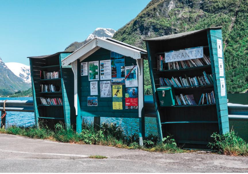 Leselampe mit Fjordblick